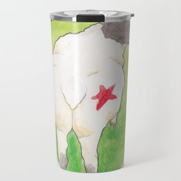 Haruki Murakami's A Wild Sheep Chase // Illustration of a Sheep with a Red Star in Watercolour Travel Mug