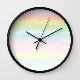 pastel rainbow gradient loved by unicorns Wall Clock
