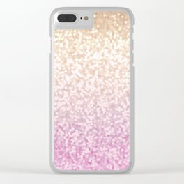 Champagne Gold and Pink Glitter Ombre Clear iPhone Case