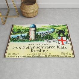 Vintage Zeller Schwarze Katz Riesling Black Cat Wine Bottle Mosel Label Print Rug