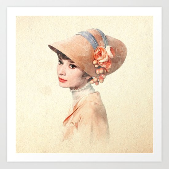 Audrey Hepburn - Eliza Doolittle - Watercolor by classicmovieart