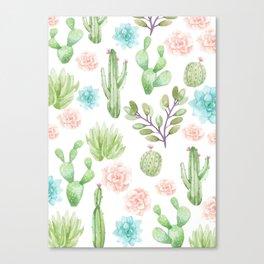 watercolor succulents Canvas Print
