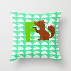 f for fox Throw Pillow