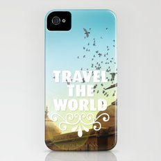 Travel the world typography quotation iPhone (4, 4s) Slim Case