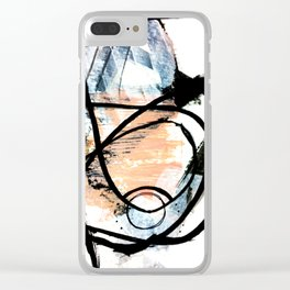 It comes and goes - a black and white abstract mixed media piece with pink details Clear iPhone Case