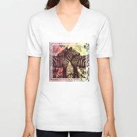 zebra V-neck T-shirts featuring ZEBRA by Nechifor Ionut