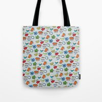 mid century modern Tote Bags featuring Mid-Century Modern by AmiDolls
