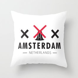 Amsterdam WIndmills XXX Throw Pillow