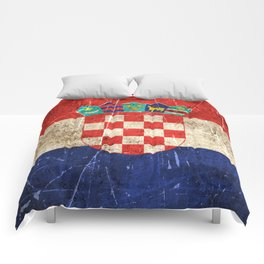 Vintage Aged and Scratched Croatian Flag Comforters