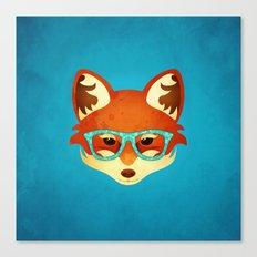 Hipster Fox: Azure Canvas Print