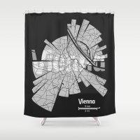 vienna Shower Curtains featuring Vienna Map by Shirt Urbanization