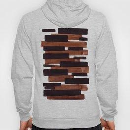 Dark Brown Primitive Stripes Mid Century Modern Minimalist Watercolor Gouache Painting Colorful Stri Hoody