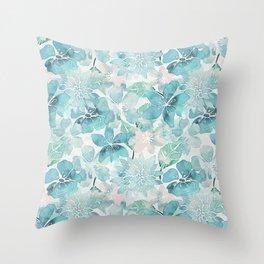 Blue green watercolor flower pattern Throw Pillow