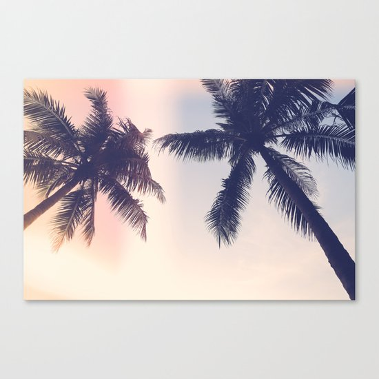 Palm trees Pastel Canvas Print