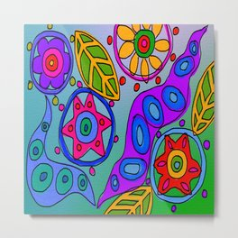 Abstract Wild Flowers Digital Painting Metal Print