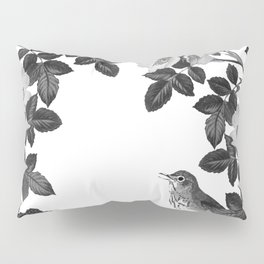 Birds and the Bees Black and White Pillow Sham