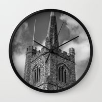 medieval Wall Clocks featuring Medieval Church by David Pyatt