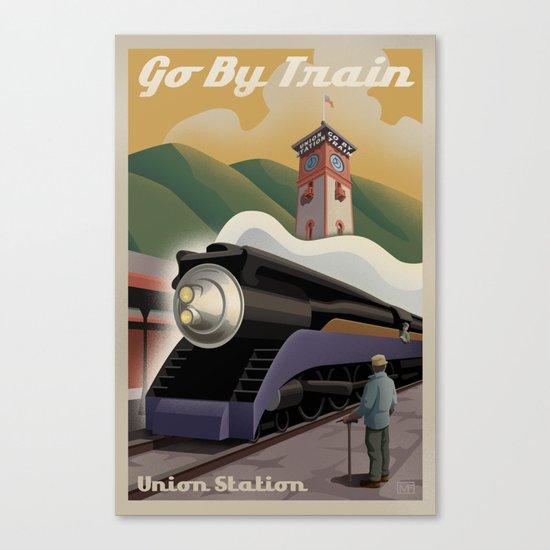 Vintage Union Station Train Poster Canvas Print