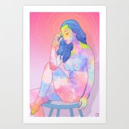 Colorful nude girl Art Print