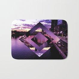 Purple Geometric Brisbane City River Print Bath Mat