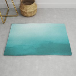 Aqua Teal Turquoise Watercolor Ombre Gradient Blend Abstract Art - Aquarium SW 6767 Rug