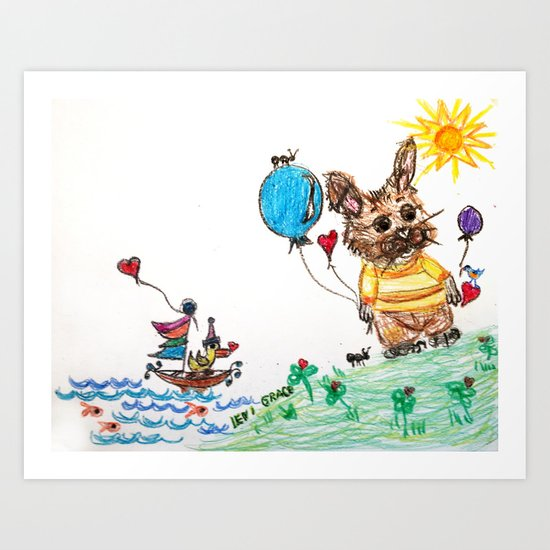 ::  Honey Rabbit on the Knoll :: Art Print