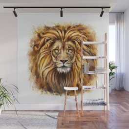 Artistic Lion Face Wall Mural