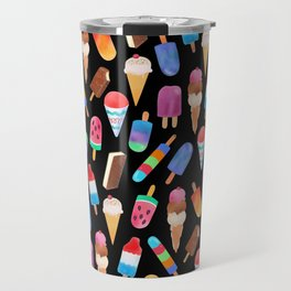 Black Summer Ice Cream and Popsicles Travel Mug