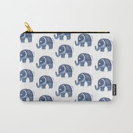 Hand painted navy blue white floral mandala elephant Carry-All Pouch