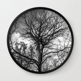 Into the forest, black and white Wall Clock