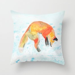 Leaping Fox Watercolor Throw Pillow