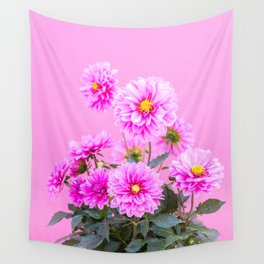 Pink Flowers on Pink Background - Floral Photogrphy with Vibrant Colors Wall Tapestry