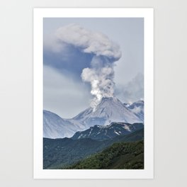 Summer mountain landscape, scenery erupting active volcano on Kamchatka Peninsula Art Print