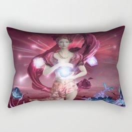 Fantasy Goddess Mother Nature Creates Flowers Rectangular Pillow