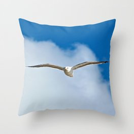 Solitary Seagull Bird Flying Sky Clouds Throw Pillow
