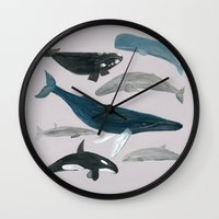 whales Wall Clocks featuring whales by L Step