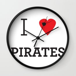 I heart Pirates Wall Clock