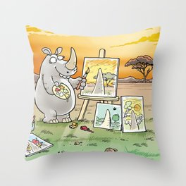 Rhino The Artist Throw Pillow