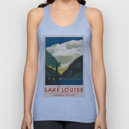 Lovely Lake Louise vintage travel ad Unisex Tank Top