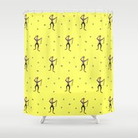 willy wonka Shower Curtains featuring Strike that. Reverse it. (Willy Wonka & the Chocolate Factory Quote) by Emanuel Adams