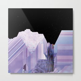 Glitch Valley at Night Metal Print