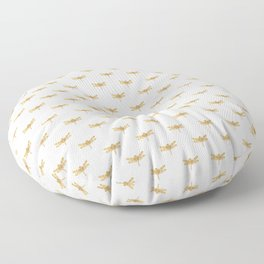 Golden Dragonfly Repeat Gold Metallic Foil on White Floor Pillow