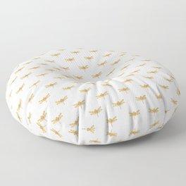 Golden Dragonfly Repeat Gold Metallic Foil on White Floor Pillow