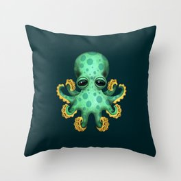 Cute Green Baby Octopus Throw Pillow