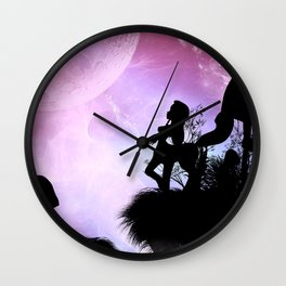 Cute centaurs silhouette Wall Clock