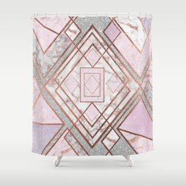 Geometric Pink Rose Gold Silver Glitter Marble Pattern Shower Curtain