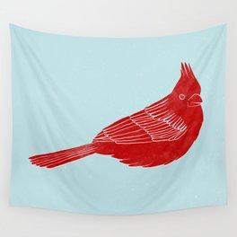 "Red Cardinal ""Digital Block Print"" Wall Tapestry"
