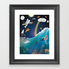 Intergalactic Undersea Pizza Party Framed Art Print