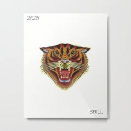 American Traditional Tiger Flash Metal Print