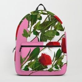 RED LONG STEMMED ROSES & PINK COLOR Backpack